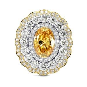 Fancy Vivid Yellow Orange Triple Floral Halo Ring 960888