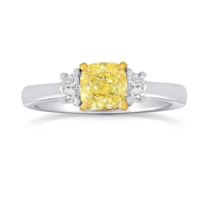 Fancy Yellow Cushion & Half-moon Diamond Ring 980946