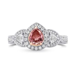 Fancy Intense Orangy Pink Pear Diamond Dress Ring 982140
