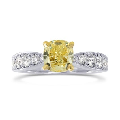 Fancy Yellow Cushion Diamond & Pave Ring 1002648