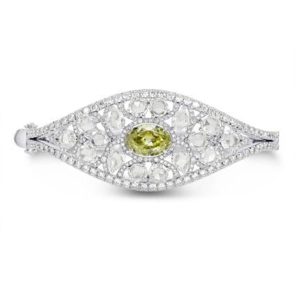 Extraordinary Greenish Yellow Oval & Rose-cut Diamond Bangle 1003248