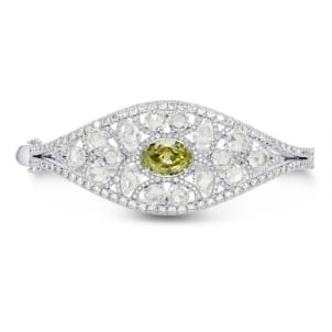Extraordinary Greenish Yellow Oval & Rose-cut Diamond Bangle 1003248