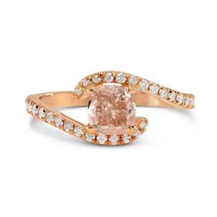 Fancy Brownish Orange Pink Cushion Diamond Cross-Over Ring 1018554