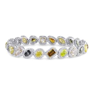 Natural Multicolored Diamond Halo Bracelet 1065858