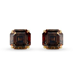 Fancy Dark Orange Brown Diamond Stud Earrings 1066242
