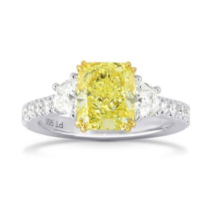 Fancy Intense Yellow Radiant & Trapezoid Diamond Ring 1121580