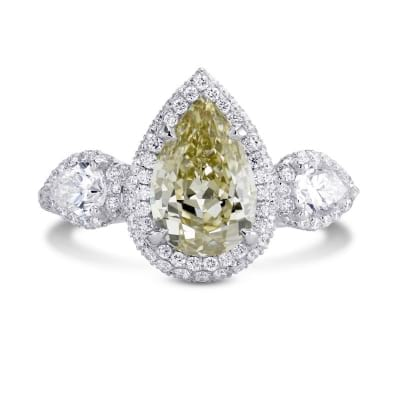 2.02cts Fancy Grayish Yellowish Green Pear Shape  3 stone Halo Ring 1151742