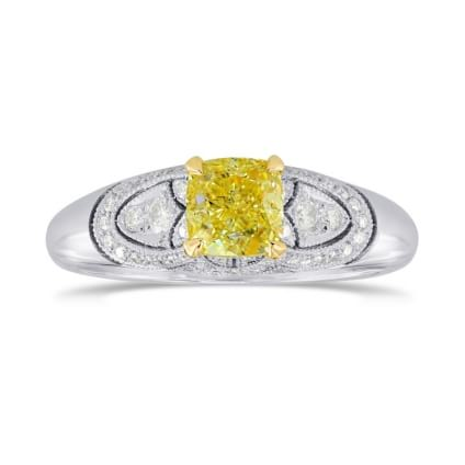Fancy Intense Yellow Cushion Diamond Vintage Style Ring 1157658