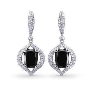Fancy Black Radiant Diamond Drop Earrings 1170720