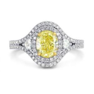 Fancy Light Yellow Oval Diamond Dress Ring 1170792