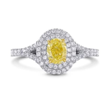 Platinum Fancy Intense Yellow Oval Diamond Double Halo Ring 1182834