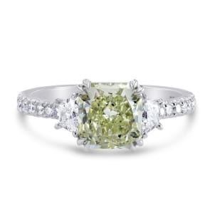 Fancy Yellowish Green Cushion & Trapezoid Diamond Ring 1185426
