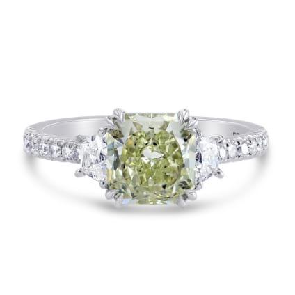 Fancy Yellowish Green Cushion & Trapezoid Diamond Ring 1185426
