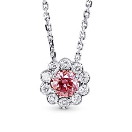Fancy Brownish Orangy Pink Diamond Floral Halo Pendant 1187286
