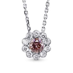 Fancy Brownish Orangy Pink Argyle Diamond Floral Halo Pendant 1187286
