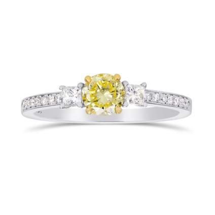 Fancy Yellow Round & White Princess Diamond Ring 1195254