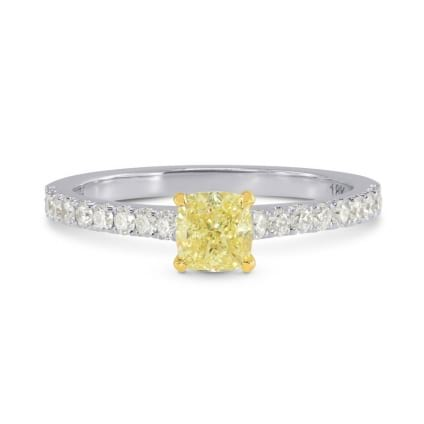 Fancy Yellow Cushion Diamond Side-stone Ring 1245642