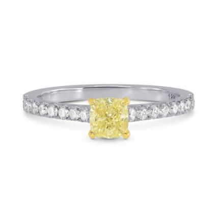 Fancy Yellow Cushion & Pave Diamond Ring 1245648
