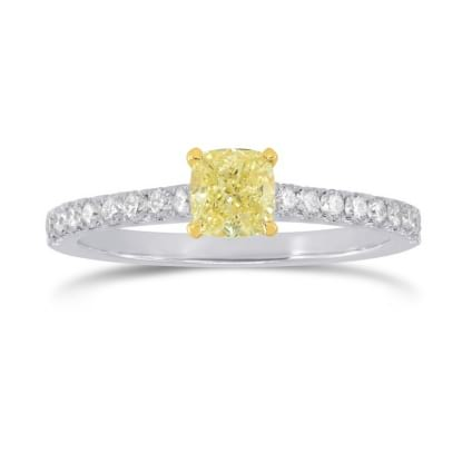 Fancy Yellow Cushion & Pave Diamond Ring 1245648