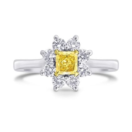 Fancy Yellow Cushion Diamond Floral Halo Ring 1247088