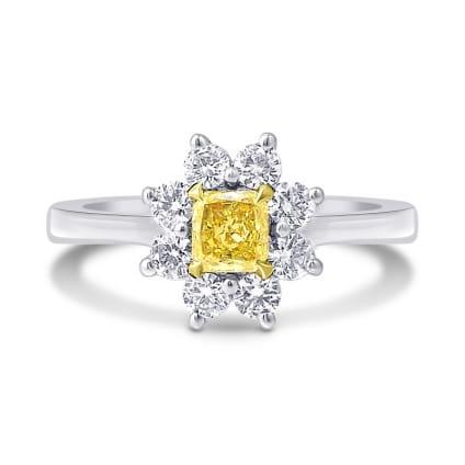 Fancy Yellow Cushion Diamond Floral Halo Ring 1247088
