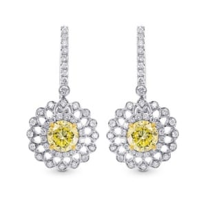 Fancy Yellow Round Brillant Halo Earrings 1350174