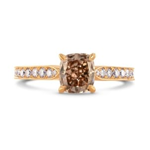 Fancy Brown Cushion & Pave Diamond Ring 1382130