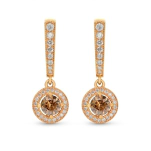 Fancy Dark Orangy Brown Round Diamond Halo Drop Earrings 1460328