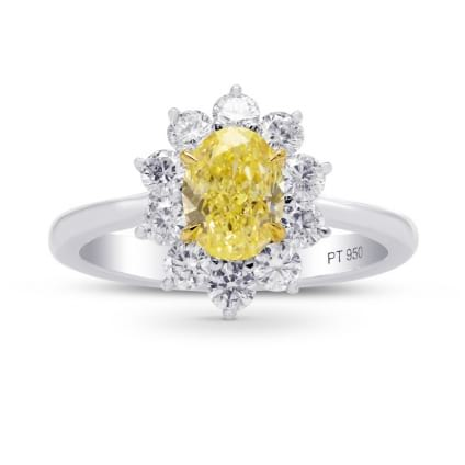 Fancy Yellow Oval Diamond Halo Ring 1460658