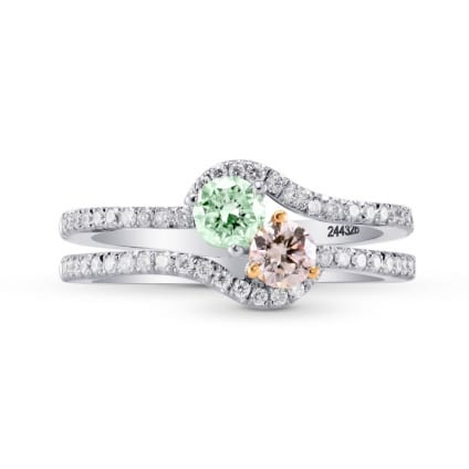 Argyle Pink & Green Diamond Two Stone Crossover Ring 1465968