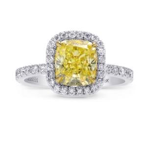 Fancy Yellow Cushion Diamond Halo Ring 1477152
