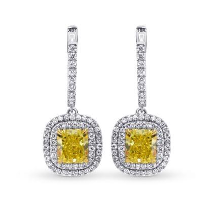 Fancy Intense Yellow Diamond Halo Drop Earrings 1479846