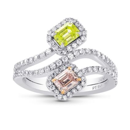 Argyle Pink & Greenish Yellow Diamond Cross-over Halo Ring 1485546