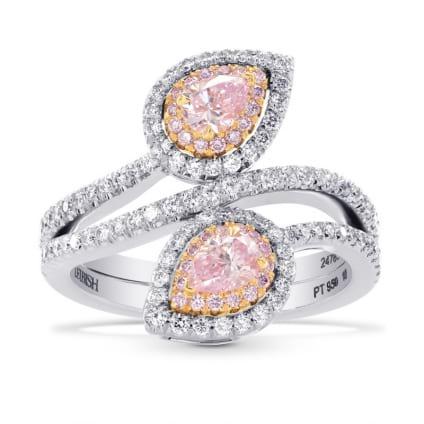 Argyle Twin Pink Pear Diamond Halo Ring 1486992