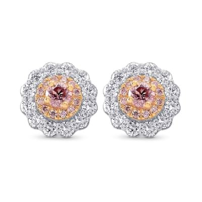 Argyle Fancy Pink Diamond Floral Halo Earrings 1486998