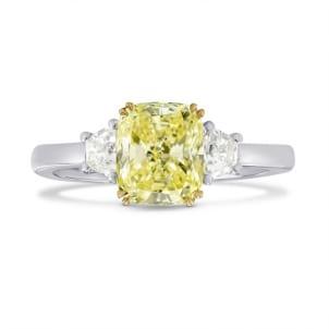 Fancy Light Yellow Cushion Diamond 3 Stones Ring 1488402