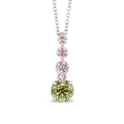 Round Chameleon & Fancy Pink Diamond Drop Pendant 1493478