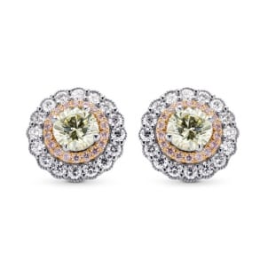 Light Yellow Green Round Brillant Halo Earrings 1496754