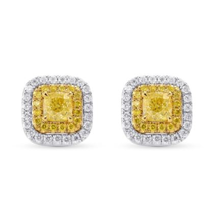 Fancy Yellow Cushion Double Halo Earrings 1499118