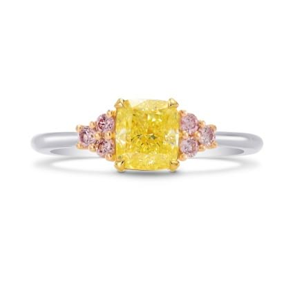 Fancy Yellow Cushion & Pink Diamond Engagement Ring 1508460