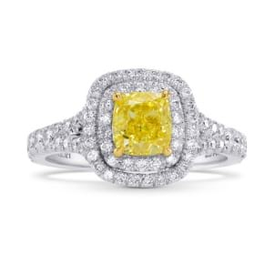 Fancy Intense Yellow Cushion Diamond Double Halo Ring 1508532