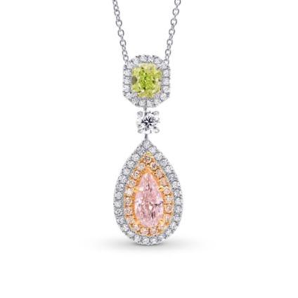 Pink Pear & Green Radiant Diamond Drop Pendant 1511034