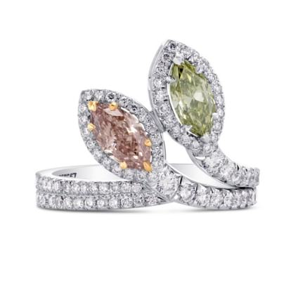 Extraordinary Pink & Green Marquise Diamond Ring 1533342