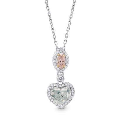 Argyle Pink Marquise & Green Heart Diamond Pendant 1579110