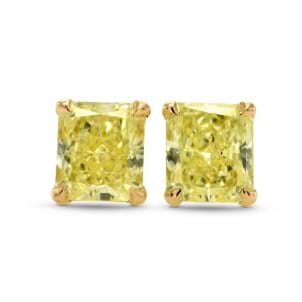 Fancy Yellow Radiant Diamond Stud Earrings 1593540
