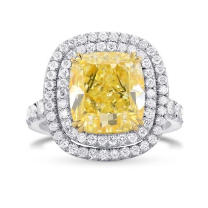 Fancy Light Yellow Cushion Diamond Ring 1620144