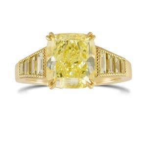 Fancy Light Yellow Cushion Diamond Ring 1649772