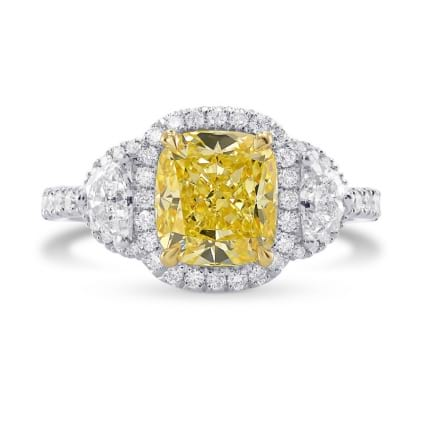 Fancy Intense Yellow Cushion Diamond Halo Ring 1662564