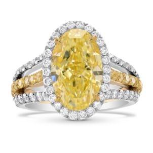 Fancy Light Yellow Oval Diamond Halo Ring 1669050
