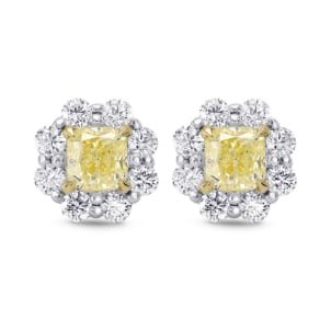 Light Yellow Radiant Diamond Halo Earrings 1670760